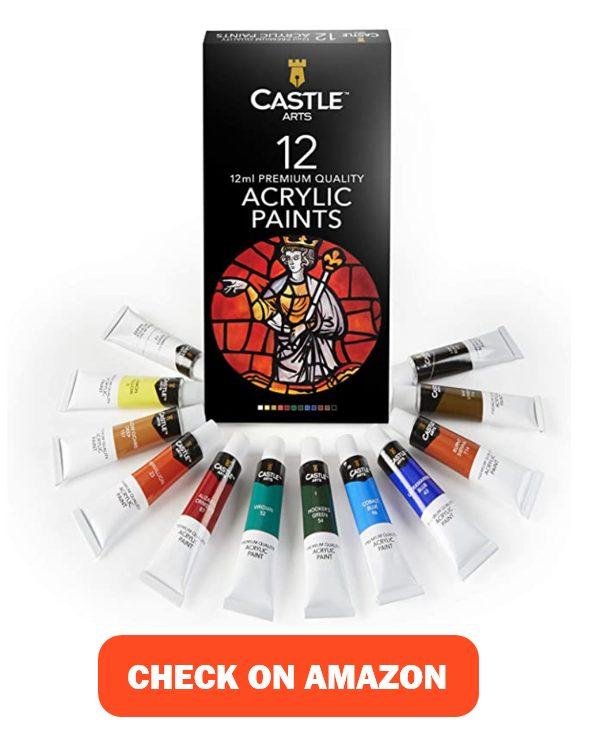 Castle Art Supplies 12 x 12ml Acrylic Paints Tubes Set for paper mache