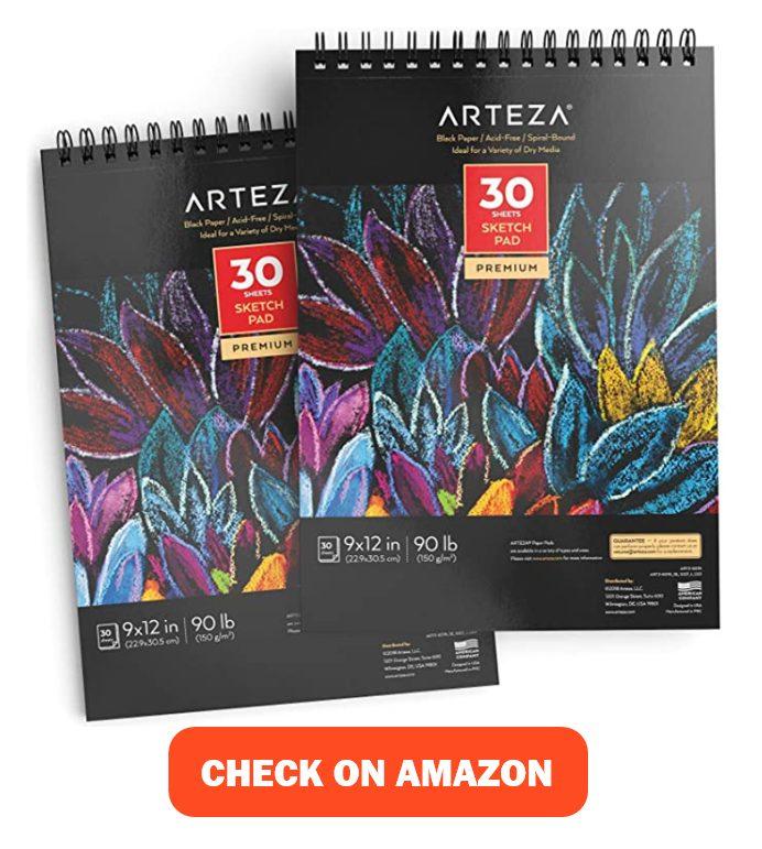 Arteza 9X12 inches Black Sketch Pad