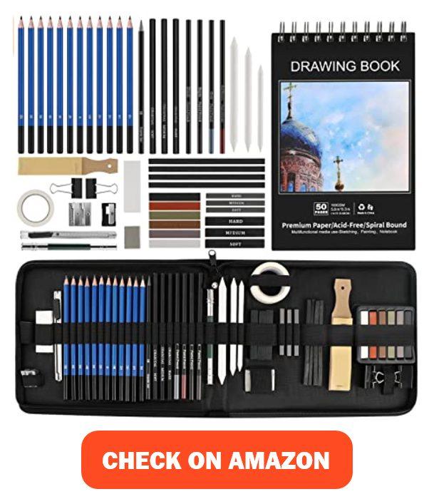 BYWOKY 50 PCS Sketching & Drawing Pencils Art Kit