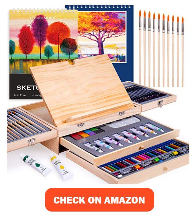 Paint Set,85 Piece Deluxe Wooden Art Set